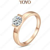 Shining Austria Crystal 18K Rose gold GP 1CT Simulated Diamond Wedding Ring(YOYO R208R1)