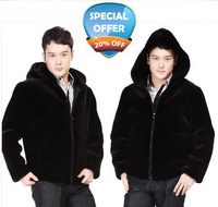 2013 autumn and winter black men's clothing fur mink hair overcoat with a hood coat faux leather