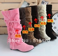 Winter  with a single nude color warm snow boots/ tassel boots /Cotton boots for Woman
