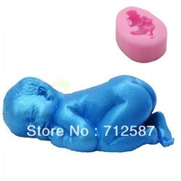 3D Soft Silicone Fondant Decorating Sleeping Baby Shape Soap Modelling Cake Mold  free shipping