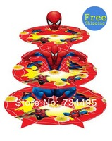 Free shipping! Promotion, 1 sets Spiderman birthday baby shower party Decorations,cardboard cake stand hold 24 cupcakes A001