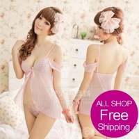 free shipping new arrival strapless  lace transparent gauze vent nightgown sexy female underwear set 9773