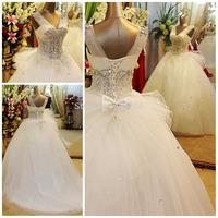 2015 Vestidos New High Quality Luxury Crystal Wedding Dress Ball Gown Bridal Dress Free shipping Bow Organza Wedding Dresses
