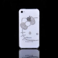 Free Shipping, Fashion Mobile Phone Cases, Hello Kitty Handmade Rhinestone Case For iPhone 4/4s Back Cover , MB803