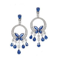 Derongems_Fine Jewelry_Customized Luxury Natural Sapphire Party Drop Earrings_S925 Solid Silver Earrings_Factory Directly Sales
