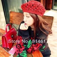 2013 hot sale Autumn and winter Handmade Openwork crochet wool cap crochet knitted berets hats online drop shipping