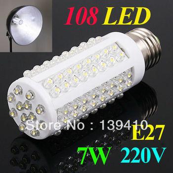 E27 220V Warm White 7W Ultra bright 108 LED Corn Light Bulb Lamp 360 degree Free Shipping