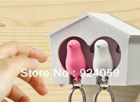 Fashion hot selling key hook collect key ring free shippping Key Holder house+bird hanging couple,DUO sparrow key ring
