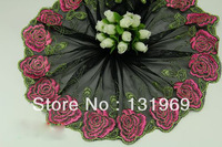 """6.5"""" *5 yards delicate red rose embroidered flower black lace decoration clothing Garment accessories tulle trim for DIY T-21"""