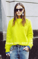 Autumn and Winter Fashion Trend of Bright Neon Color Rabbit Wool Knitted Pullover Sweater Brand Designers Women's Sweater