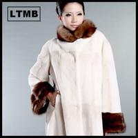 LTMB4135  Women's fashion rex rabbit design long overcoat fur collar  white fur overcoat winter ladies fur outerwear 2014