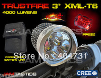 Trustfire 3800Lm 3x CREE XML T6 LED Front Bicycle Bike Light Headlamp 8800mAh Batery pack(Silver Color)