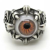 Free Shipping, Rings For Mens Biker Fleur De Lis Animal Claw Stainelss Steel Orange Eyeball Eyes Charm Rings Vintage