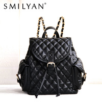 Free shipping Smilyan 2014 new women fashion PU leather backpack preppystyle plaid black multi-pocket backpack bags for women