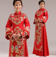 New 2014 Vintage High Quality Brocade Cotton Chinese Red Cheongsam Wedding Dress Chinese Traditional Handmade Qipao Dress