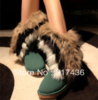 free shipping 2013 autumn and winter snow boots tassel ankle boots fox fur flat-bottomed  winter boots women