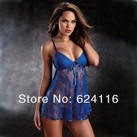 N37 5sets/lot New Arrival Sexy XXL Babydolls Lingerie Strappy Mini Slip Dress Nightwear Skirt With G-string