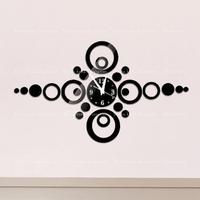 Free shipping DIY fashion mirror wall clock, decoration, living room decoration, very beautiful black