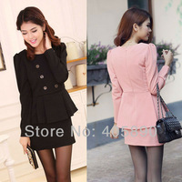 New Korean Women Straight Mini Dress Double-Breasted Decoration Umbrella Hem Slim Package Hip Dress