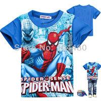cartoon spiderman children t shirts,2014 new kids t-shirts,cool summer short sleeve toddler baby cartoon clothes tees