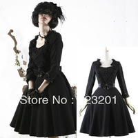 Gothic dance party slim woolen one-piece dress lq-031