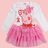 Nova Kids Wear New 2014 Girls' Fashion Baby Dress Printed Lovely Peppa Pig Spring Autumn Baby Girl Dress tz44