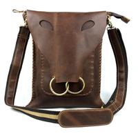 Cow Head Design Vintage Genuine Full Grain Leather Cowhide Crazy Horse Leather Men Shoulder Bag Messenger Bag Bags For Men 3841