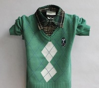 3pcs/lot 2013 Kids Clothing Pullover Sweaters Plaid and Turn Down Collar Design 3 Colors for 2-5  years