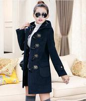 2015 autumn and winter wool coat outerwear medium-long slim fashion horn button wool coat wool