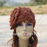 Large flowers beaded beige hat free shipping Skullies & Beanies hat for woman warm hat warm hats for women cap hat women's