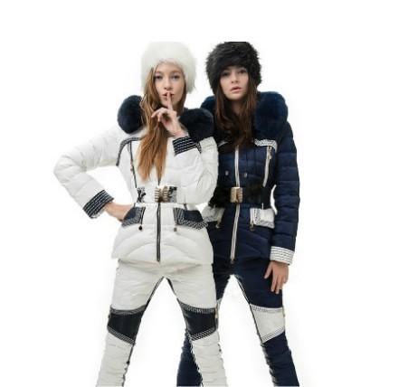 Женские пуховики, Куртки CLJ 2013 s winter women's fashion down coat suit with real fur PU wool liner zipper plus size christmas