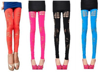 Women Sexy Red  Get Ripped Cut Out Slashed Destroyed Leggings  Pants   7 Colors