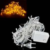 NEW 2014 10M 100 LED Yellow Lights Decorative christmas decoration Party Twinkle String EU Plug TK0293