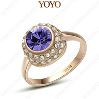 18K Gold Plated Jewelry Use Shining Austria Crystal purple zircon Simulated Diamond Ring R115R2