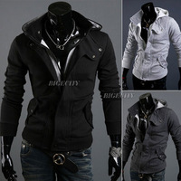 2013 Autumn Winter New Mens Slim Fit Casual Designed Top Zip Hoodies Jacket Coat 3 Colors  HK Free Shipping