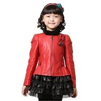 Hot sale 2013 autumn winter girls flower decorate thicken cotton-padded outerwear children motorcycle PU Leather jacket