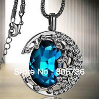 Min Order $15 Free Shipping Fashion Jewelry  Fashion Necklaces Amazing Blue Crystal Stone Moon Pendant Necklace female' Necklace