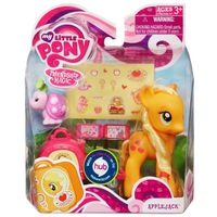Free Shipping My Little Pony hasbro toys,Little Pony Anime Figure Applejack &Suitcase &cute pets dolls toys for children girls
