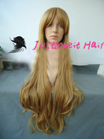 cosplay wig 85cm 100cm long blonde wavy Free shipping Cosplay wigs synthetic hair full lace wigs fashion party wigs  JFCP136