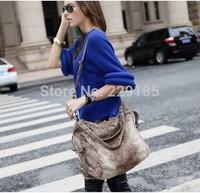 new 2014 Street fashion Cute gray plush suede  rivet bags women leather handbags shoulder bag Messenger bag  free shipping B098