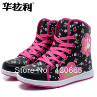 2013 winter children PU boots girls snow boots waterproof  ankle boots Artificial short plush Free shipping