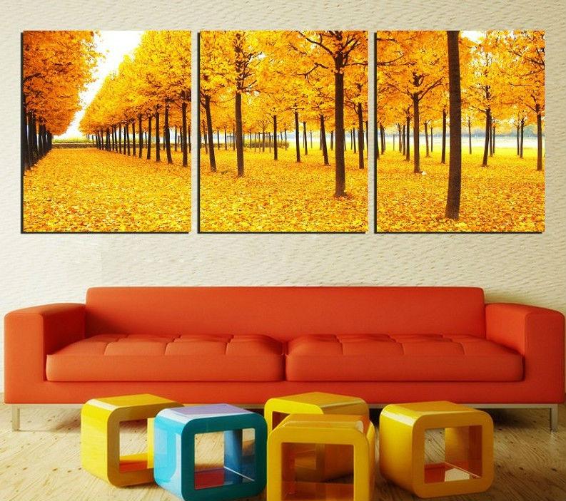 Free Shipping 3 piece canvas art wall golden tree art home