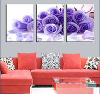 3Panels Free shipping Decorative Canvas Painting Modern Huge Picture Purple Flower Paint Print Art Romance Flower Wall T/885