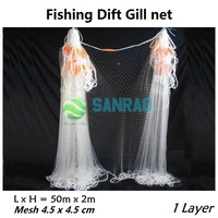 Single layer 40M length 2m height mesh 4.5cm*4.5cm Gillnet Fishing Gill Net oceans and pond catching fish tools nylon net