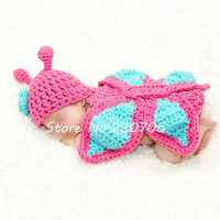 Unisex Newborn Baby Crocheted Butterfly Hat Cape Costume Photo Photography Props 0-12 Months, retail & wholesale free shipping