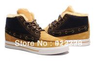 Free Shipping 2013 New Full Fur Leather men's Winter Warm Shoes 100% Wool inside Casual Shoes Sneakers for Men Size 40-44