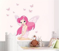 Free Shipping Pink  Fairy Wings Gorgeous Butterfly DIY Removable Wall Stickers Parlor Kids Bedroom Home House Decoration JM8257