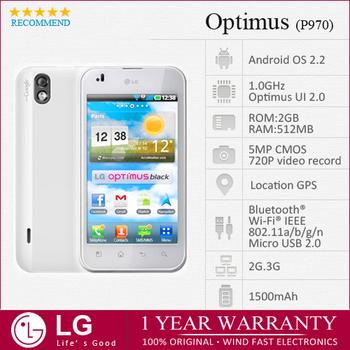 "lg p970 Original LG Optimus White P970 Unlocked 3G 5MP GPS WIFI ANDROID V2.2 4.0"" 1GHz  Mobile phone Factory Refurbished"