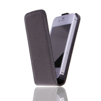 New Arrivel Luxury Smooth Leather Case For Iphone 4 Flip Cover For Iphone4S/4G Black Color 1Piece Free Shipping