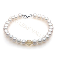 Genuine Natural Freshwater Pearl Bracelet 925 Sterling Silver Button With Yellow Crystal Free Shipping Hot Sell Women Gift Sale
